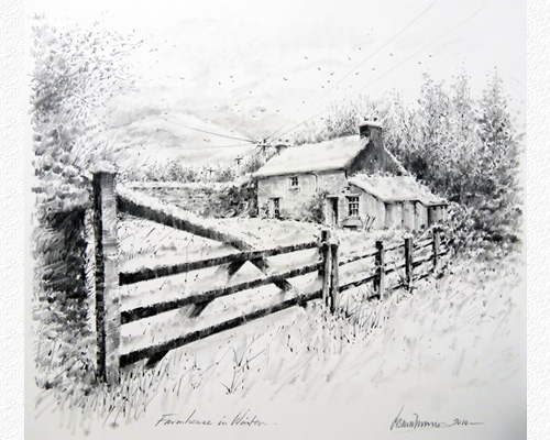 Old Farm House Drawing Images