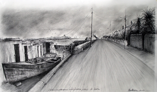 Charcoal Drawings: Coliemore Harbour Dalkey