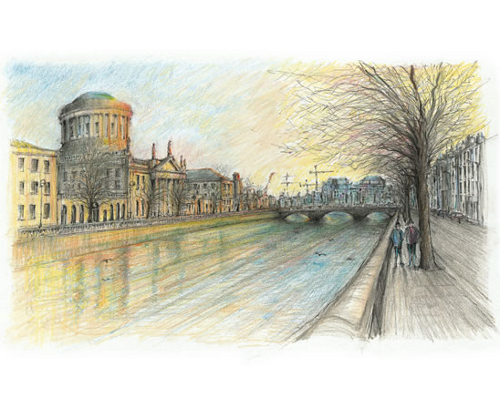 Four Courts and River Liffey